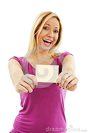 Gift card woman excited
