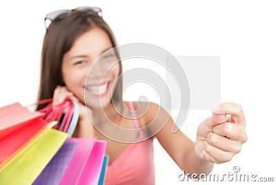 Gift card woman shopping