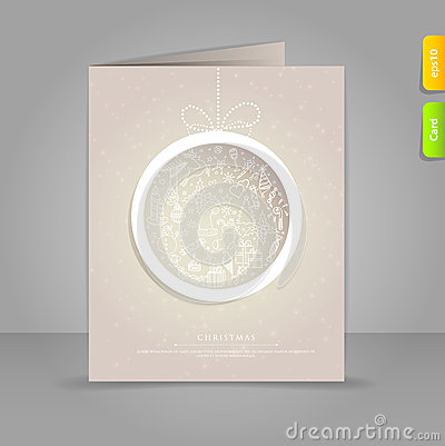 Gift card with Xmas doodle ball