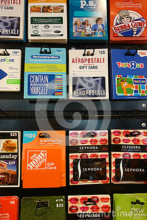 Gift Cards Editorial Stock Image