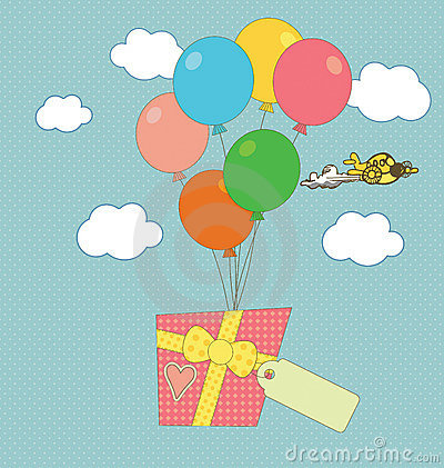 A gift carried by balloons