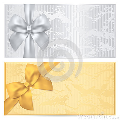 Free Gift Certificate, Voucher, Coupon Template. Bow Royalty Free Stock Photo - 35018945
