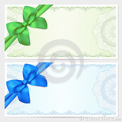 Voucher gift certificate coupon ticket template guilloche pattern