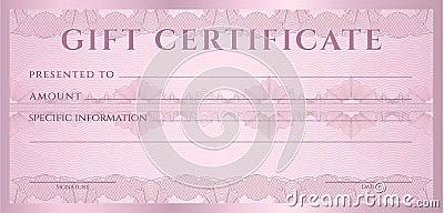 Gift Certificate (Voucher, Coupon) Template Cartoon Vector  Money Voucher Template