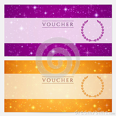 Free Gift Certificate, Voucher, Coupon Template. Stars Stock Images - 33074214