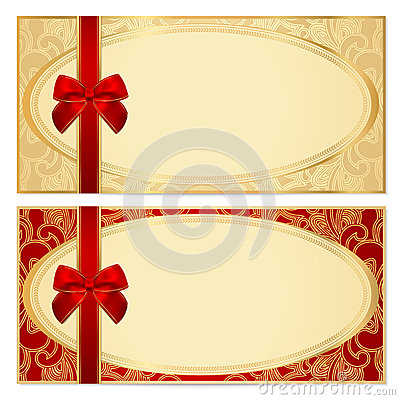 Gift certificate (Voucher) template. Bow, pattern