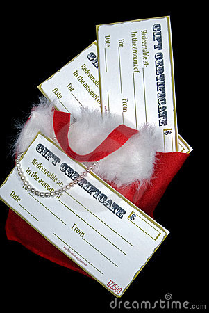 Free Gift Certificates In Red Santa Purse With Pearls Royalty Free Stock Image - 10679946