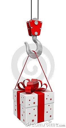 Gift on crane hook