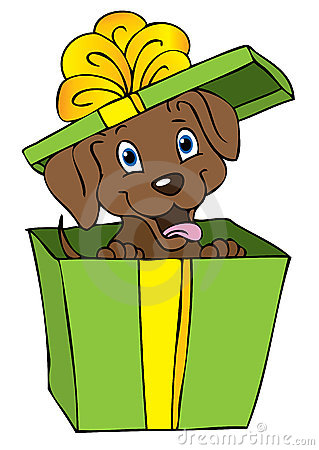 Gift dog cartoon
