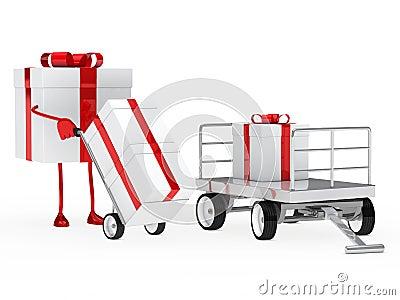 Gift figure pull hand truck