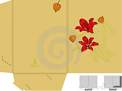 Gift folder with die cut ( flowers)
