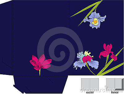 Gift folder with die cut (Iris and violet flowers)