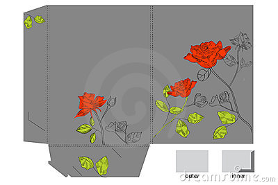 Gift folder with hand drawn roses