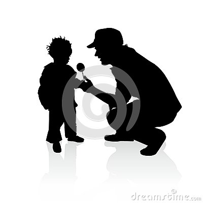 Free Gift For A Poor Child - Vector Silhouettes Stock Photos - 63961993