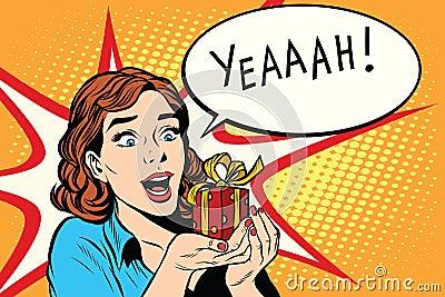 Gift girl happy wedding birthday pop art retro style. The emotion ...