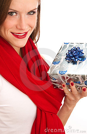 Gift Giving Attractive Woman Celebrates Christmas