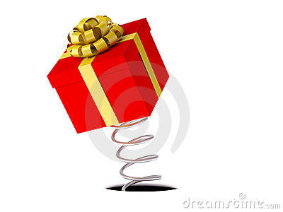 Gift with a gold ribbon on a spring