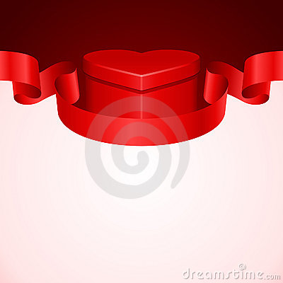 Gift heart with ribbon and light