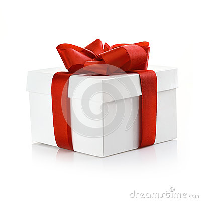Gift with ornamental red ribbon