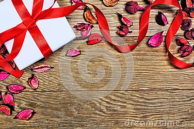 Gift over wood background