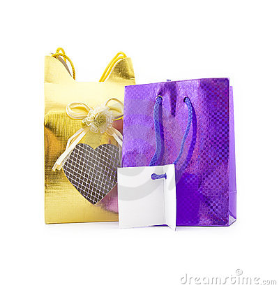 Gift packages with a card for congratulations