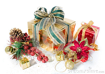 Gift packages christmas red and golden, with decorations