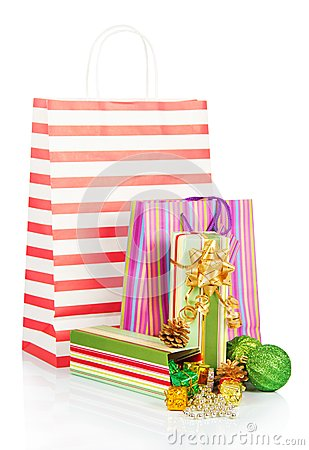 Gift packages with christmas tinsel