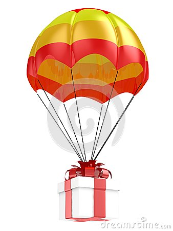 Gift and parachute Stock Photo