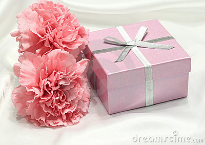 Gift with Pink Carnations on White Satin