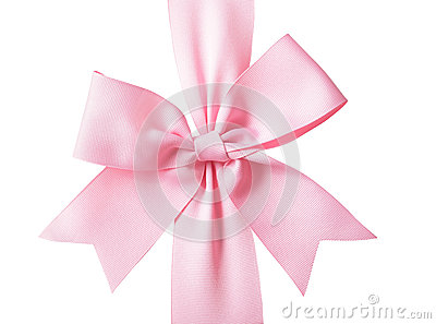 Gift pink ribbon and bow