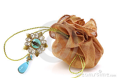 Gift pouch with diamond brooch jewellery