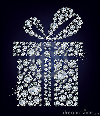 Free Gift Present Made Up A Lot Of Diamonds On The Blac Royalty Free Stock Photo - 22359865