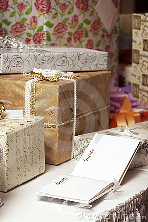 Gift presents at a wedding or birthday party