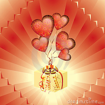Gift with red balloons in the form of heart