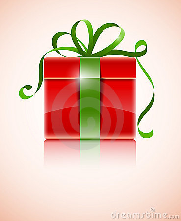 Gift in red box with green bow