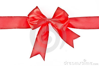 Gift red ribbon and bow isolated