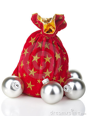 Gift sack and silver balls isolated