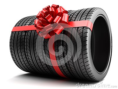 Studded Winter Tires >> Gift Set Of Tires Wrapped Ribbon And Bow Stock ...