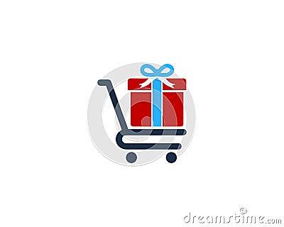 Gift Shopping Icon Logo Design Element Vector Illustration