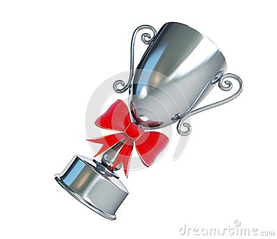 Gift silver trophy cup on a white background