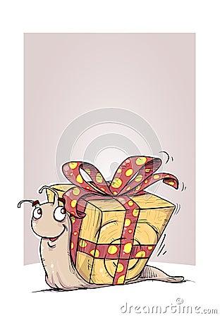 Gift snail illustration