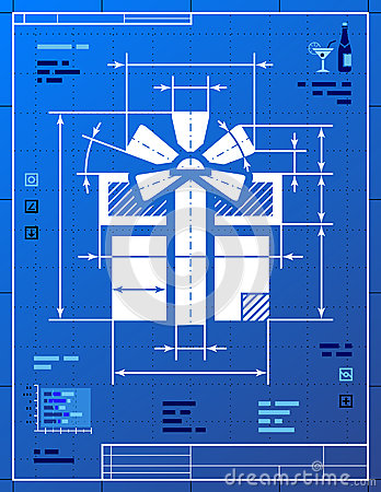Gift symbol like blueprint drawing