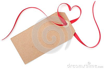 Gift tag with heart bow