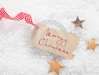 Gift tag with Merry Christmas greeting