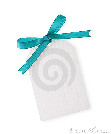 Free Gift Tag With Green Ribbon Bow Royalty Free Stock Photo - 2051185