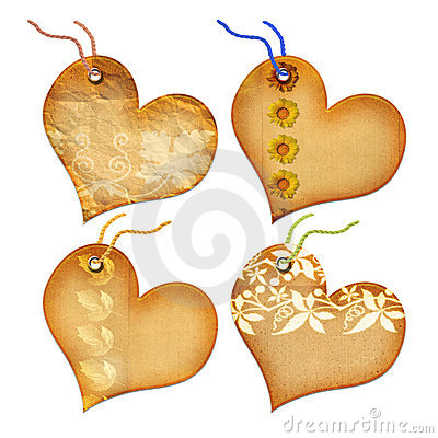 Free Gift Tags In The Form Of Heart. Royalty Free Stock Photos - 5381368