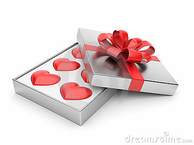 Gift with valentine hearts 3D. Love concept