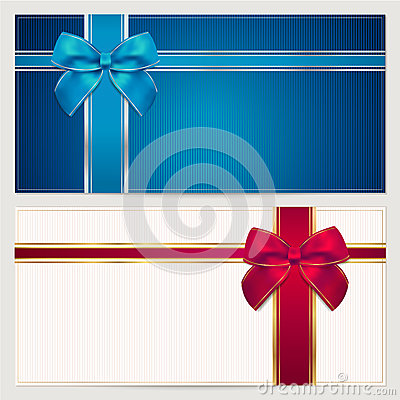 Free Gift Voucher / Coupon Template. Bow (ribbons) Stock Photos - 30300193