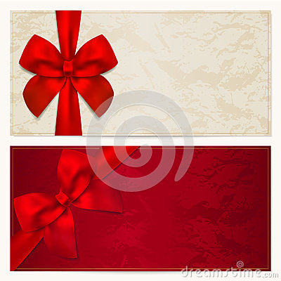 Free Gift Voucher / Coupon Template. Red Bow (ribbons) Stock Image - 29051401