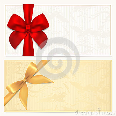 Free Gift Voucher / Coupon Template. Red Bow (ribbons) Stock Images - 29052634